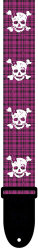 "Perri's 6799 2"" Poly The Skulls Pink Plaid - pasek do gitary"